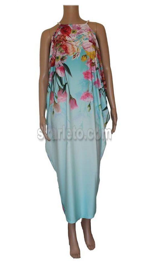 Дълга, лятна рокля в синьо
