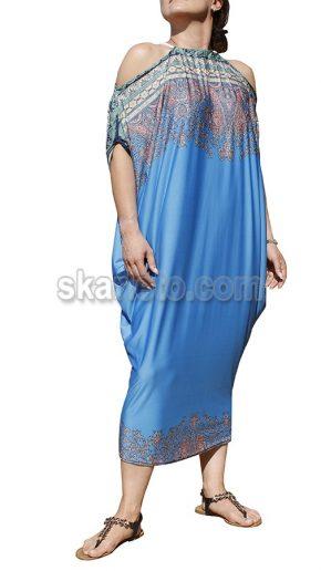 Дълга лятна рокля в синьо Скай